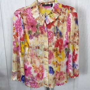 Essentials by Milano Tops - Essentials By Milano size Large, colorful blouse.